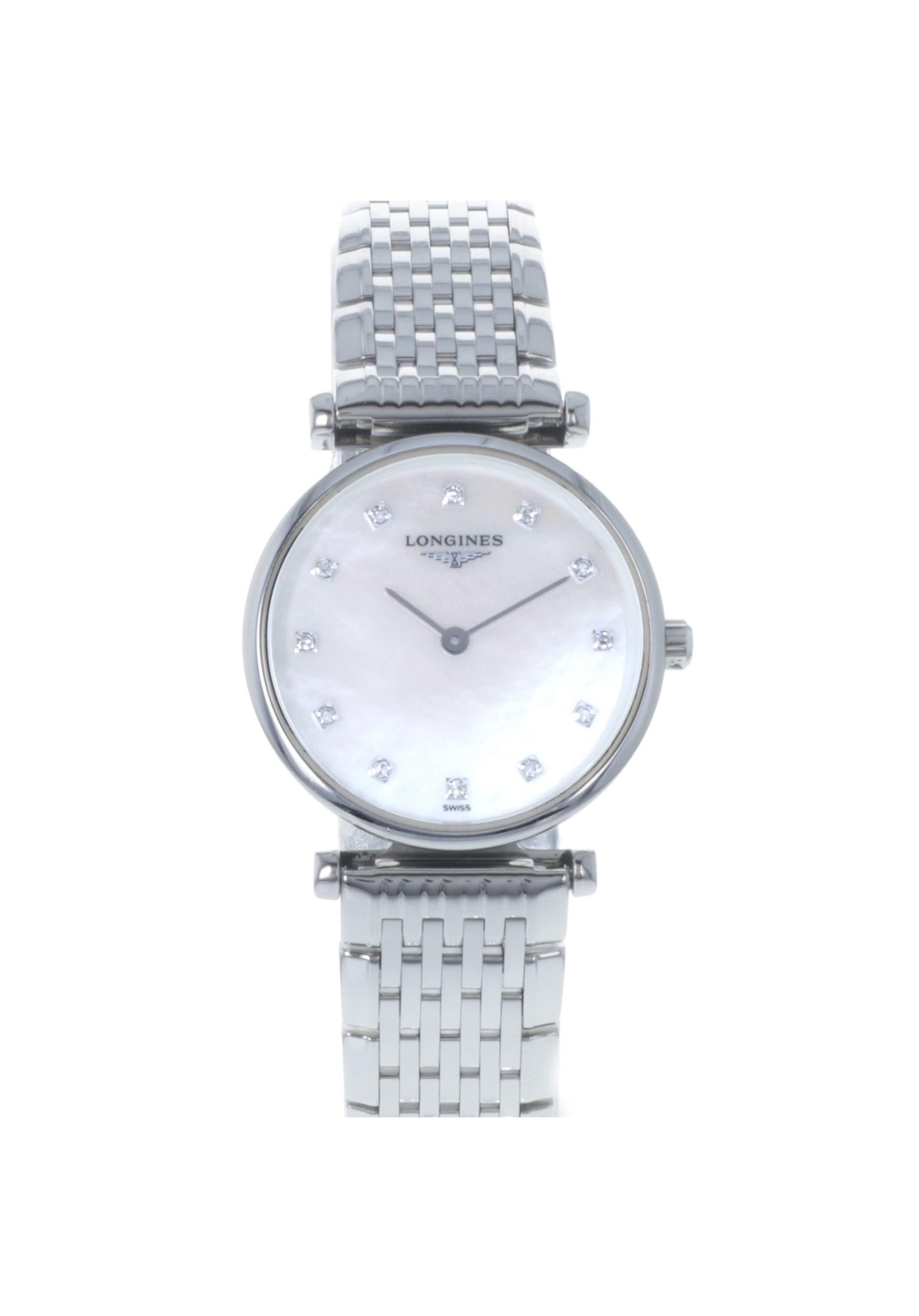 Montre Longines La Grande Classique quartz cadran nacre index diamants bracelet acier 24 mm