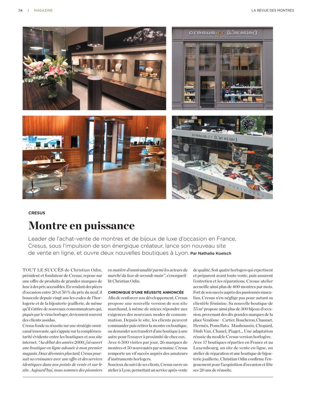 Echos de la presse - Montres de luxe et bijoux d occasion Cresus 9f152761739c