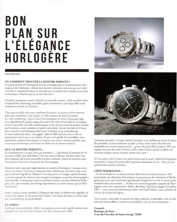 Echos de la presse - Montres de luxe et bijoux d occasion Cresus 48639d28947